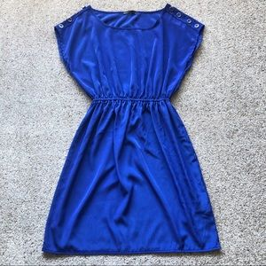 Royal Blue Short Dress With Stretchy Waist Small